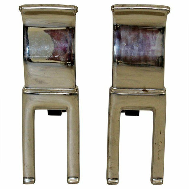 1960s Mid Century Modern Virginia Metalcrafters Modernist Nickel Plate Andirons 1960s For Sale - Image 5 of 6