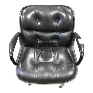 Charles Pollock Black Leather Office Chair For Sale