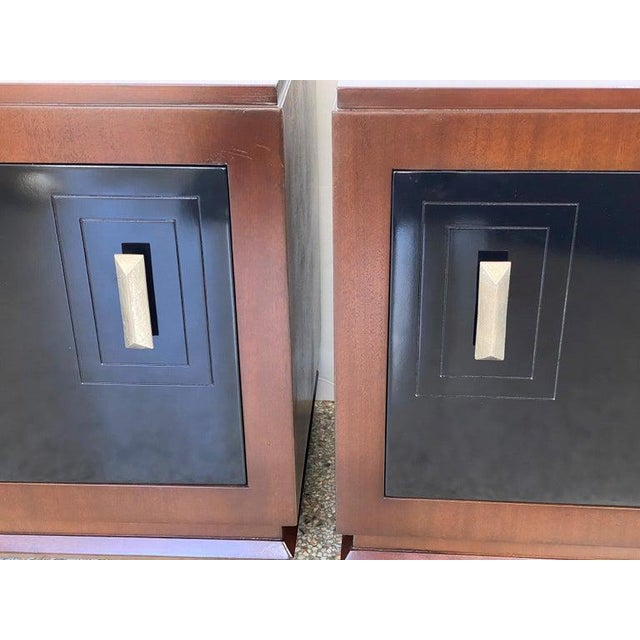 This stylish pair of night stands seem to be transitional in their form and details. A mix of Art Deco and Moderne with...