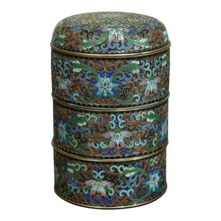 Cloisonne 4 Pieces Enamel & Brass Stacking Boxes For Sale