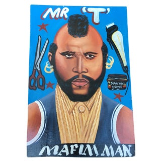 African Folk Art Barber Shop Painting Mr. T For Sale