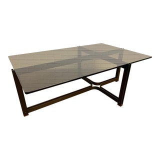 Tom Lopinski for Dunbar Bronze, Rosewood and Smoked Glass Coffee Table For Sale