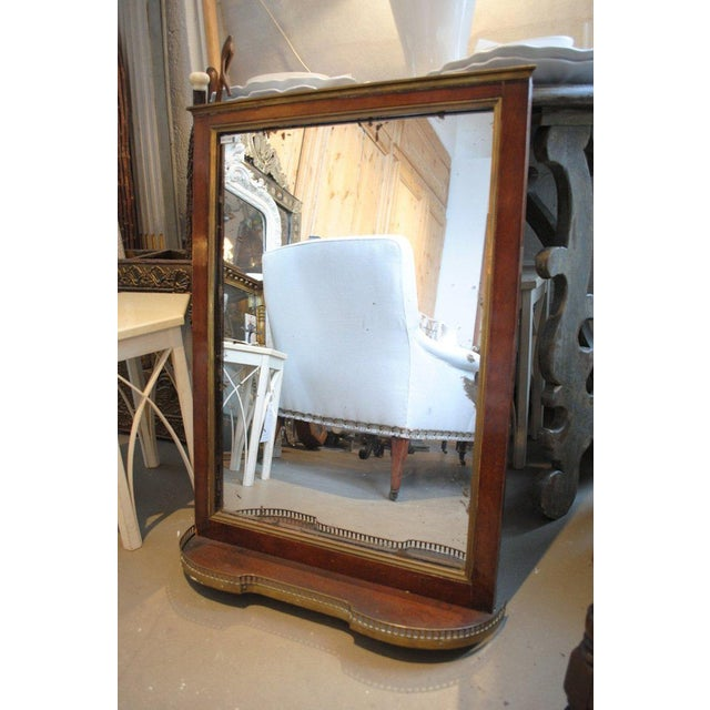 Brass 19th Century Mahogany Mirror with Shelf For Sale - Image 7 of 8
