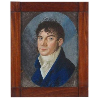 19th C. Pastel Painting on Parchment Portrait of French Empire Gentleman in Cravat For Sale