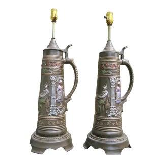 German Brown Ceramic Beer Stein Table Lamps - A Pair For Sale