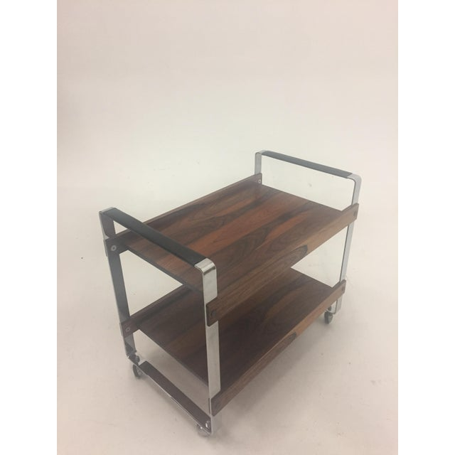 Mid Century Modern Rosewood and Chrome Bar Cart For Sale - Image 4 of 11
