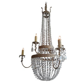 French 1950s Basket Crown Crystal Chandelier For Sale