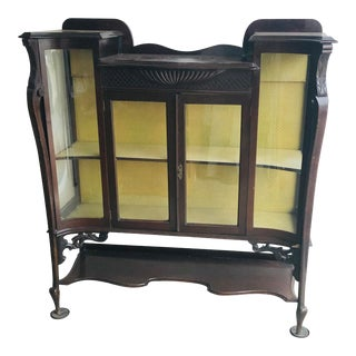 Antique Victorian Mahogany Curio Cabinet For Sale