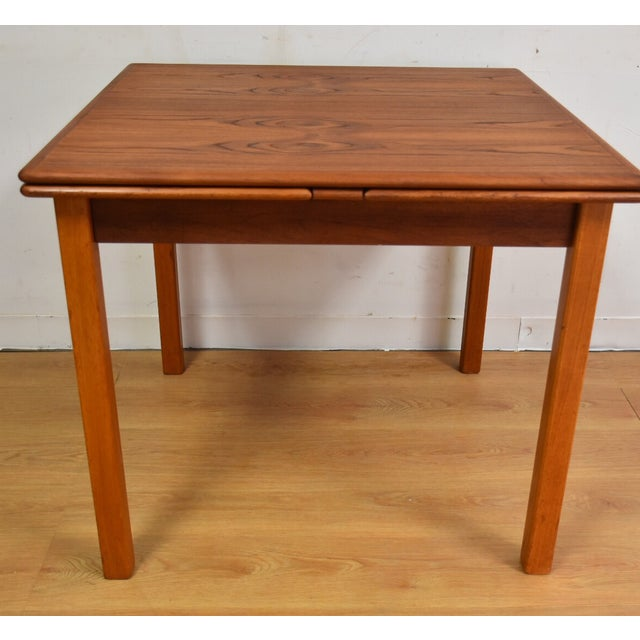 Mid-Century Danish Teak Draw Leaf Dining Table For Sale In Boston - Image 6 of 11