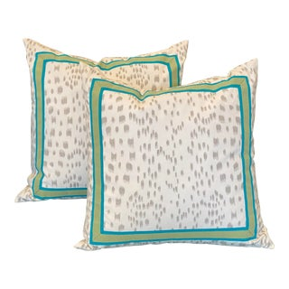 Green &White Pillows - a Pair For Sale