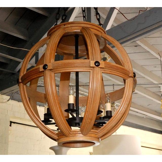 Modern Paul Marra Carved Oak Sphere Chandelier For Sale - Image 3 of 8