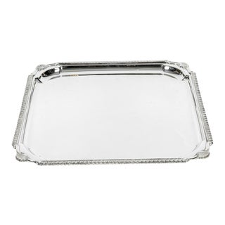 English Silver Plate Barware / Serving Footed Tray For Sale