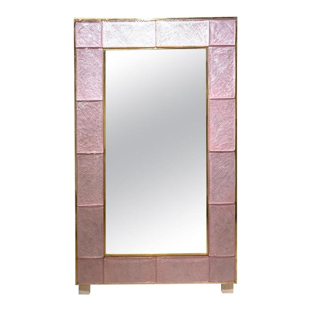 Early 21st Century Modern Pink Murano Glass and Brass Mirror For Sale