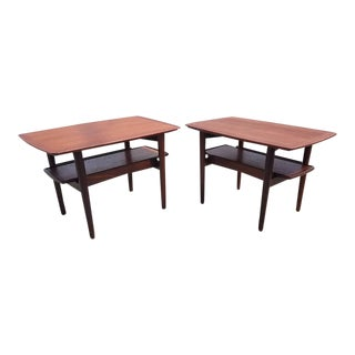 1950s Scandinavian Modern h.w. Klein for Bramin Mobler End Tables - a Pair For Sale