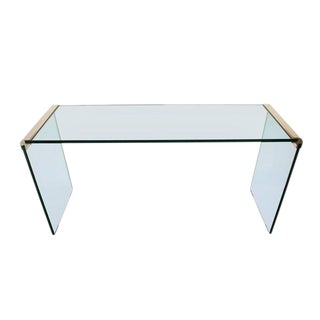 Hollywood Regency Leon Rosen for Pace Glass & Brass Sofa Table For Sale