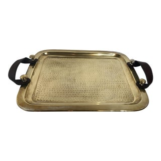 Vintage Metal Gold Brass Overlay Serving Tray For Sale