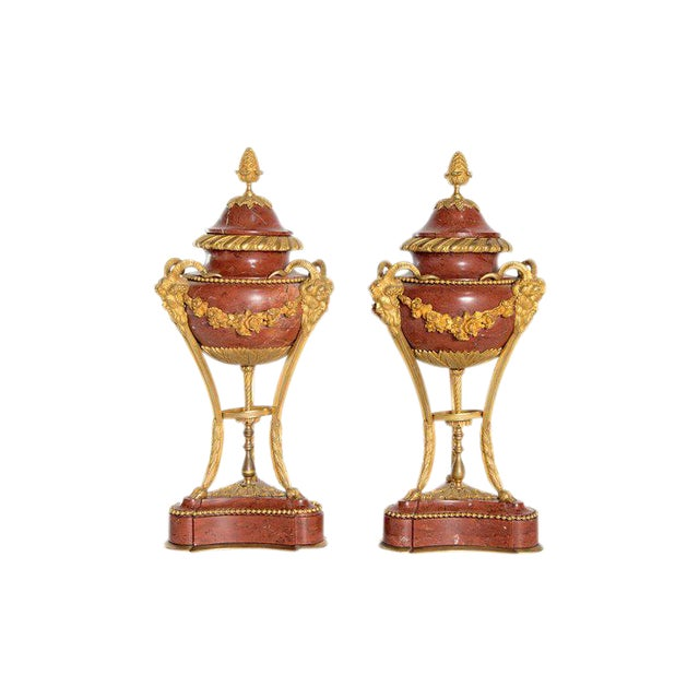 Late 19th Century Pair of Gilt Bronze Mounted Rouge Marble Lidded Coupes For Sale