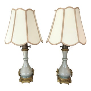 Gagneau Crackled Celadon and Gilt Bronze Lamps - a Pair For Sale