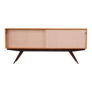 Early Florence Knoll Credenza / Cabinet in Mahogany, Birch, and Grasscloth For Sale