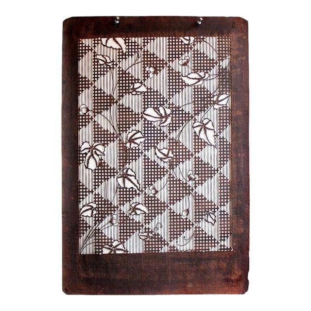 64866204a Antique Japanese Kimono Katagami Fabric Stencil   Chairish