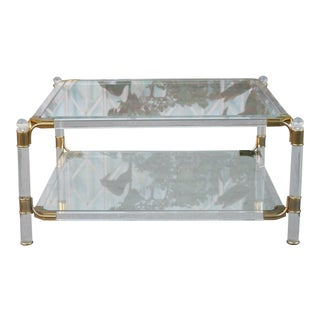 Hollywood Regency Brass and Lucite Coffee Table