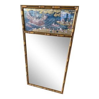 Vintage Chinoiserie Faux Bamboo Mirror For Sale