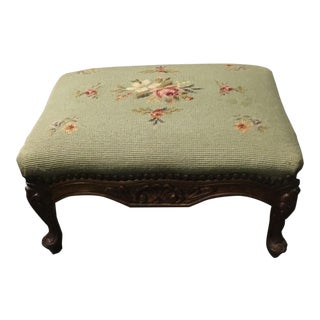 Vintage Mid Century French Country Green Floral Needlepoint Footstool For Sale