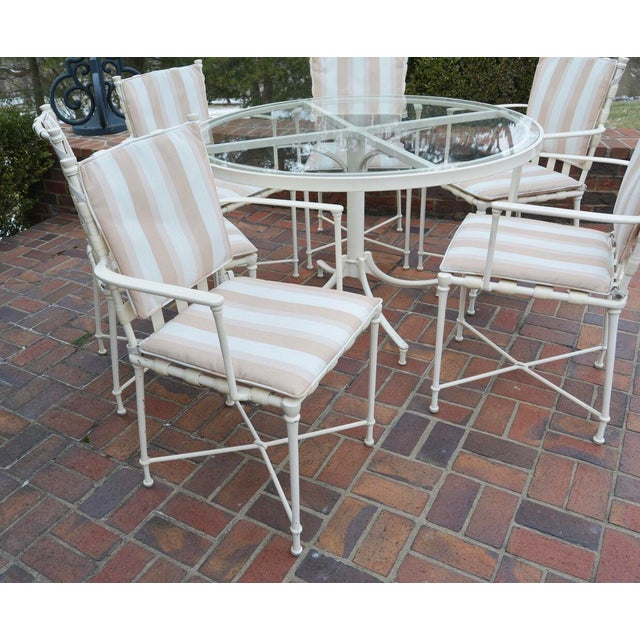 White Vintage Brown Jordan Outdoor Cast Metal Patio Table and Chairs For Sale - Image 8 of 13