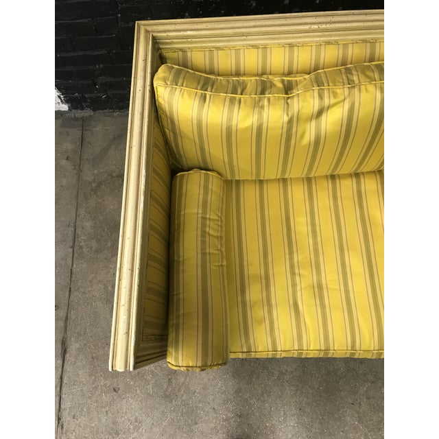 Bright Yellow & Green Stripe French Directoire Louis XVI Settee Loveseat For Sale - Image 12 of 13