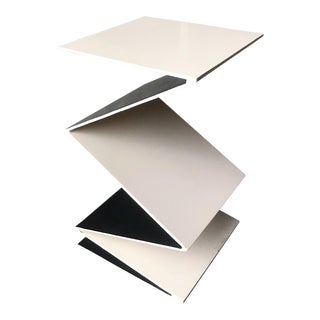 Post Modern Leavitt Weaver Steel Zig Zag Side Table For Sale
