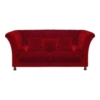 French Victorian Style Red Tufted Velvet Settee For Sale