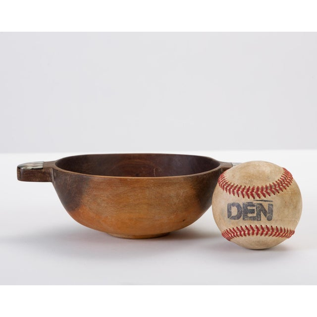 African Hand-Carved Sandalwood Bowl With Bone Inlay Handles For Sale - Image 3 of 10