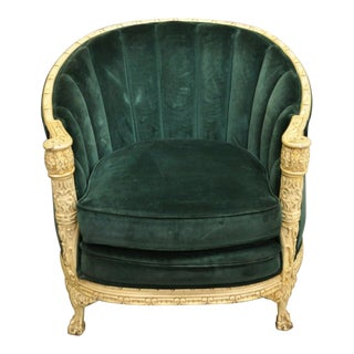 Antique Art Deco Green Mohair Cream Painted Chair For Sale
