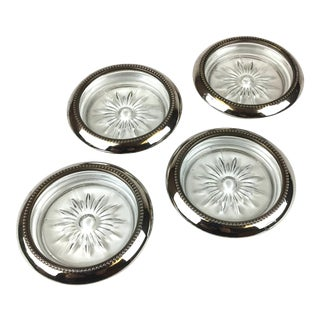 Silver Plate Crystal Star Glass Coasters - Set of 4 For Sale