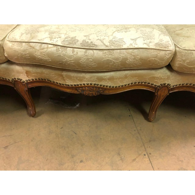 Wood Queen Anne White Sofa For Sale - Image 7 of 10