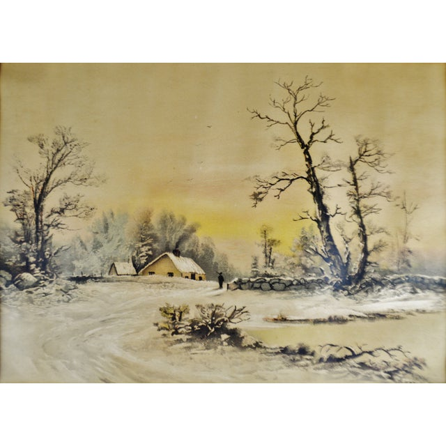 Antique Framed Mixed Media Country Landscape Scene For Sale - Image 4 of 13