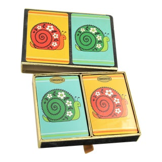 1960s Vintage Congress Playing Cards Cel-U-Tone Double Pack Snail Design Cards in Case For Sale