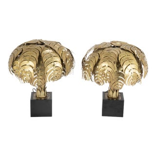 1970s Palm Tree Form Lamps by Christian Techoueyres for Maison Jansen - a Pair For Sale