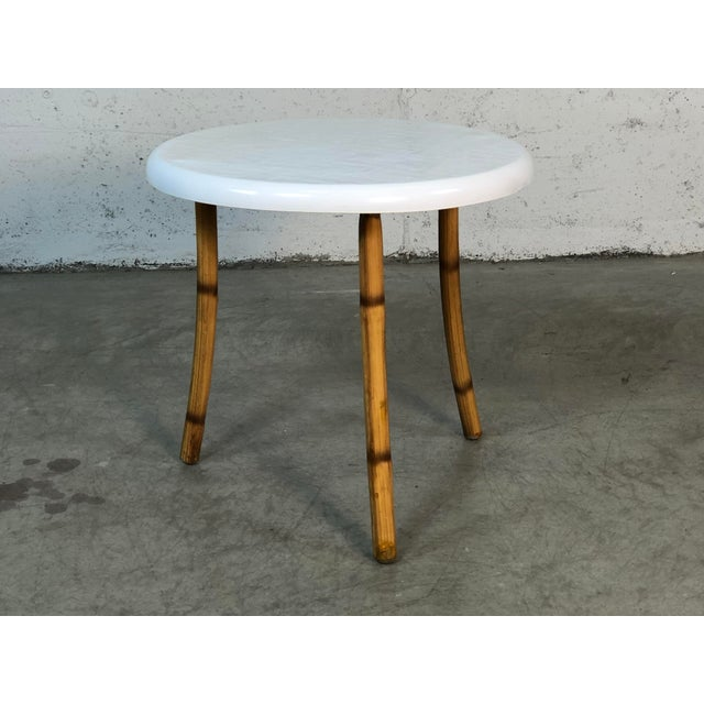 1960s Round Fiberglass & Burnt Bamboo Side Table For Sale In Boston - Image 6 of 6
