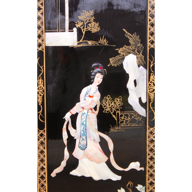 Asian Wall Panels Depicting Chinese Performers or Geishas For Sale - Image 6 of 13