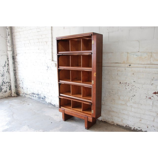 Wood Mid-Century Oak Barrister Bookcase For Sale - Image 7 of 12