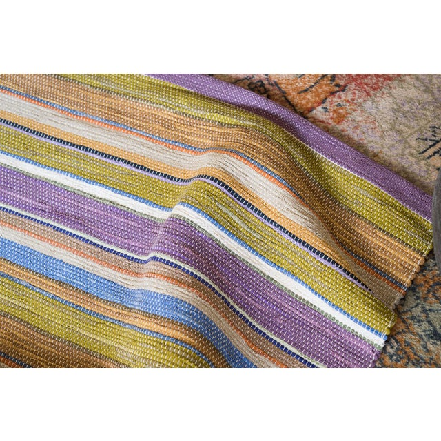 Swedish Handwoven Lilac & Green Rug - 4′3″ × 7′4″ - Image 3 of 7