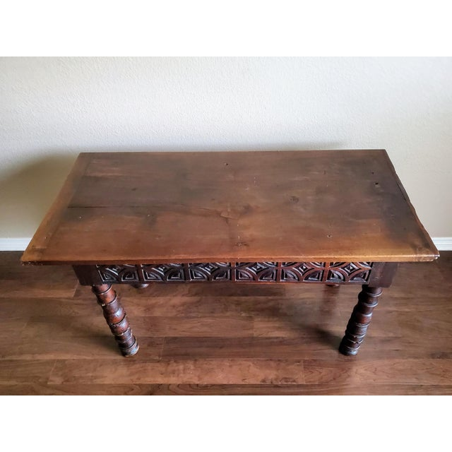 Baroque Rustic 18th Century Spanish Baroque Period Carved Walnut Table For Sale - Image 3 of 12