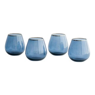 Siren Beverageware Atlantic Blue + Gold Short Stemless - Set of 4 For Sale