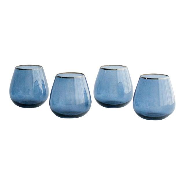 Siren Beverageware Atlantic Blue + Gold Short Stemless - Set of 4 For Sale