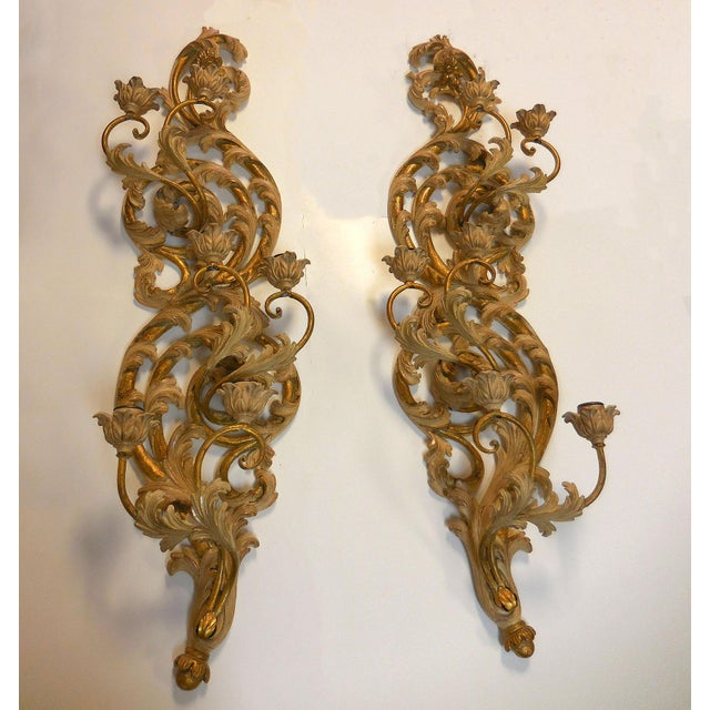 Italian Gilt Carved Wood Wall Sconces - A Pair - Image 5 of 9
