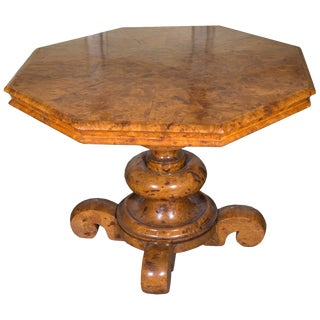 Mid 19th Century Vintage Burled Elm Classical Center Table For Sale