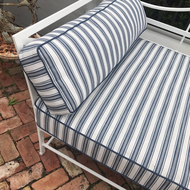 Cast Iron Sunbrella Upholstered Outdoor Daybed For Sale - Image 5 of 7