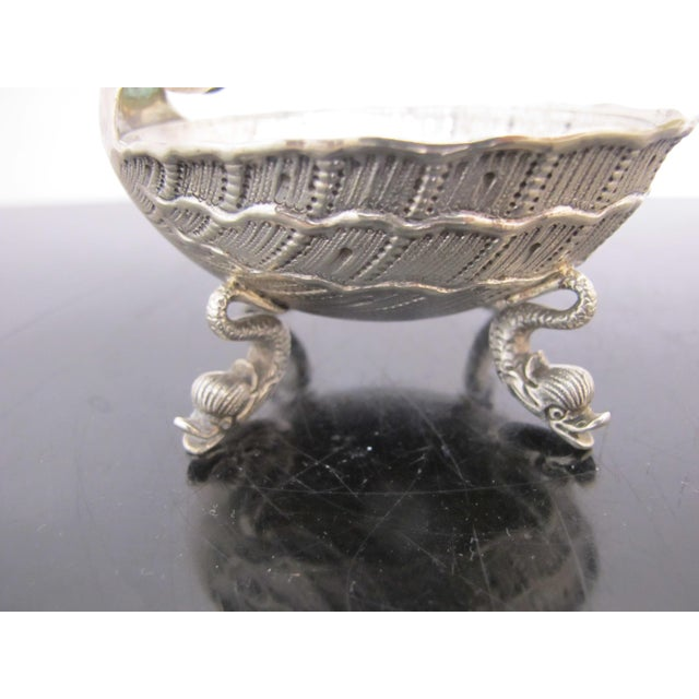 Figurative Antique German 800 Silver Figural Horn Player Dolphin Foot Salt Cellar Bowl For Sale - Image 3 of 8
