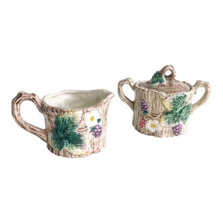 Faux Bois Fitz & Floyd Vintage Creamer / Sugar Set For Sale